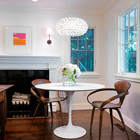 Kriste Michelini Interiors - dining rooms - modern, cherner chairs, cherner armchairs,  Modern minimalist dining space with Saarinen marble table,