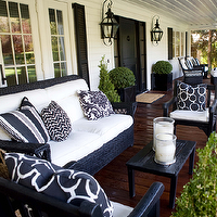 Kriste Michelini Interiors - porches - French doors, black, door, black, shutters, covered porch, black, outdoor, furniture, outdoor sitting area, outdoor seating area, outdoor sitting area, outdoor seating area,