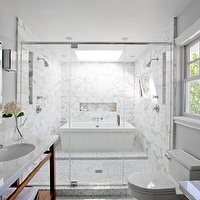 Kriste Michelini Interiors - bathrooms - marble, washstand, gray, walls, polished nickel, sconces, frameless glass shower, freestanding, tub, marble, tiles, shower surround, master bath shower, master bath showers, master bath shower design, master bath shower designs,