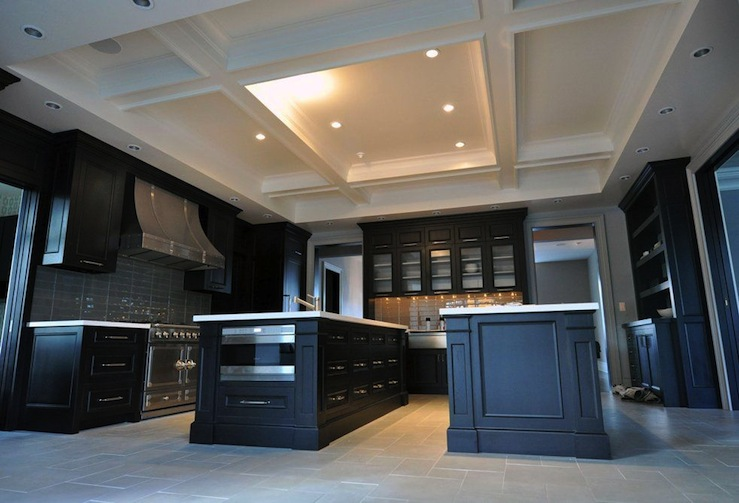 Coffered kitchen ceiling contemporary kitchen tamara for Slate blue kitchen decor