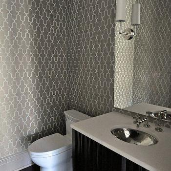 Tamara Magel - bathrooms - gray bathroom, gray bathroom cabinets, gray bathroom vanity, trellis wallpaper, gray trellis wallpaper, moroccan wallpaper, gray moroccan wallpaper, quatrefoil wallpaper, gray quatrefoil wallpaper, moorish tiles wallpaper, gray moorish tiles wallpaper, gray trellis wallpaper,