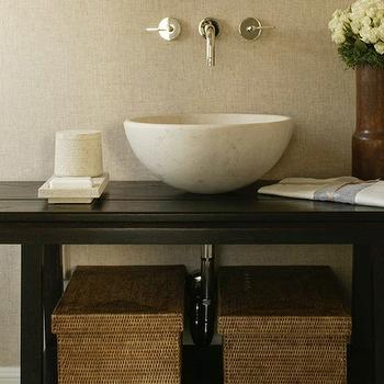 Tamara Magel - bathrooms - zen bathroom, zen bathroom design, zen bathroom ideas, grasscloth wallpaper, taupe grasscloth wallpaper, black vanity, black bathroom vanity, stone bowl sink, stone vessel sink, wall mounted faucet,