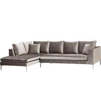 Seating - Stefano Sectional, Brussels Charcoal - gray, sectional, sofa