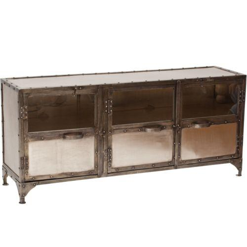 Element Media Console Industrial Mirrored Media