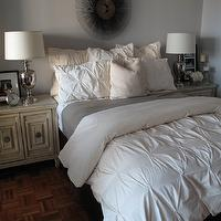 design 59 - bedrooms - gray, walls, silver, urn, lamps, vintage, Hollywood Regency, nightstand, cabinet, gray, blanket, sunburst, mirror, pintuck duvet, pintuck comforter, pin tuck duvet, pin tuck comforter, cream pintuck duvet, cream pintuck comforter, cream pin tuck duvet, cream pin tuck comforter, West Elm Pin-Tuck Duvet,