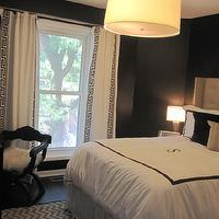 HGTV - bedrooms - white, drapes, black, Greek key, ribbon trim, black, walls, gray, tufted, wingback, headboard, white, monogrammed, hotel bedding, white, gray, zigzag, chevron, herringbone, rug, drum, pendant, chandelier, black and white curtains, black and white drapes, black and white window panels, black and white drapery,