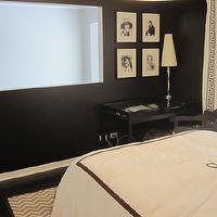 HGTV - bedrooms - black and white curtains, black and white drapes, black and white window panels, black and white drapery, greek key trim, black and white bedroom, black and white duvet, monogrammed bedding, black walls, black bedroom walls,