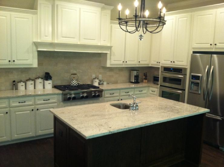 White Granite  Transitional  kitchen  Sherwin Williams Dover White