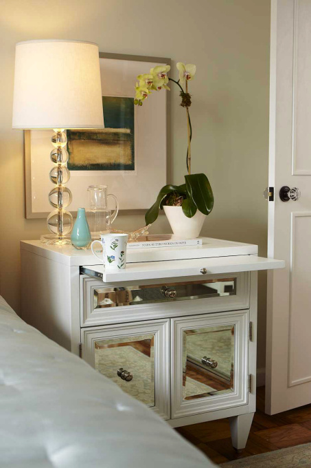 HGTV - bedrooms - Benjamin Moore - Silken Pine - Z Gallerie Concerto Nightstand, Pottery Barn Stacked Crystal Lamp, Pottery Barn Essential Quilt, green, walls, orchid, parquet, wood floors, mirrored nightstands, mirror nightstands, white mirror nightstands, white mirrored nightstands,