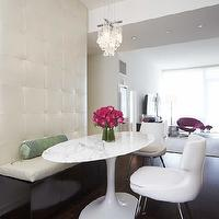 HGTV - dining rooms - crystal, chandelier, Brentano, leather, padded, wall, built-in, banquette, white, leather, dining chairs, banquette, dining banquette, built-in banquette, built in dining banquette, leather dining banquette, built-in leather banquette, white banquette, white leather banquette, white leather dining banquette, tufted banquette, tufted dining banquette, tufted built in banquette,