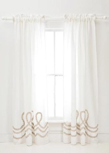 Window Treatments - Pine Cone Hill Ruched Linen White Platinum Window Panel - pine cone hill, white, ruched, linen, curtains