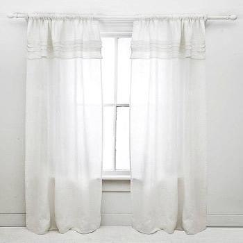 Window Treatments - Pine Cone Hill Pleated Linen White Window Panel - pine cone hill, white, linen, ruffled, drapes