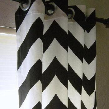 Window Treatments - Pair of 50 x 96 Black and White Large Bold Chevron by SewPanache - white, black, zigzag, chevron, grommet, drapes