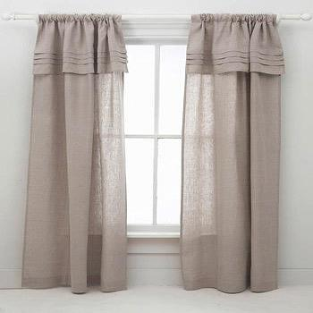 Window Treatments - Pine Cone Hill Pleated Linen Natural Window Panel - pine cone hill, linen, pleated, window panels
