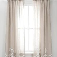 Window Treatments - Pine Cone Hill Ruched Linen Platinum White Window Panel - pine cone hill, gray, ruched, linen, drapes
