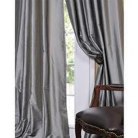 Window Treatments - Solid Faux Silk Taffeta Platinum 96-inch Curtain Panel | Overstock.com - faux silk, platinum, drapes