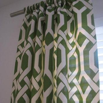 Window Treatments - Decorative Designer Rod Top Drapery PanelsTreillage in by nenavon - green, trellis, drapes