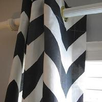 Window Treatments - Pair of Designer Grommet Top Drapery Panels 84 In by nenavon - white, black, zigzag, chevron, curtains