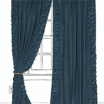Window Treatments - Parlor Curtain - Anthropologie.com - turquoise, blue, velvet, curtains