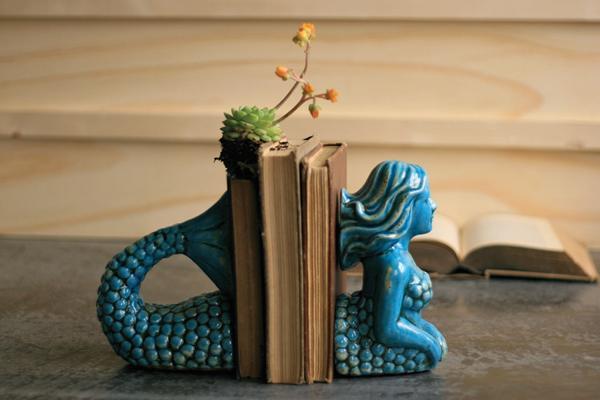 ceramic mermaid bookends \ aqua