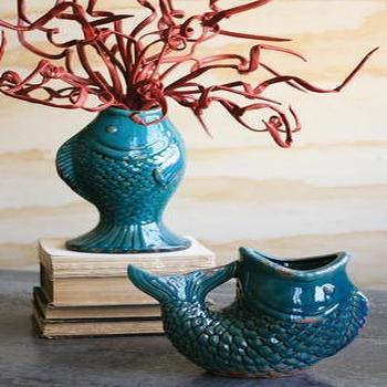 Decor/Accessories - ceramic fish vase U shaped \ turquoise - fish, vase