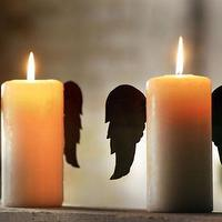 Decor/Accessories - rustic tin candle wings \ set of two - candle, wings