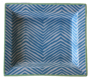 Decor/Accessories - Blue Zebra Porcelain Tray - blue, zebra, tray