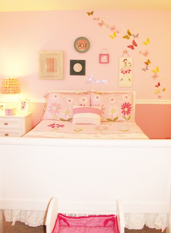 girl's rooms - Benjamin Moore - Early Sunrise & Rosy Glow - bedroom, little girl, butterflies, ruffles, polka dot, roses, flowers, chandeliers, dollhouse, rocking chair, bears, pink, frilly, mirrors, lamps, bed, dresser, wall decor, art, pottery barn kids, land of nod, DIY,