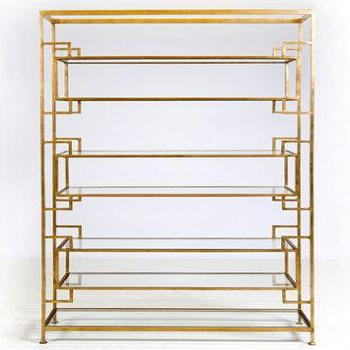 Storage Furniture - Lamar 7 Shelf Etagere - Gold Leaf with Glass Shelves Luxury Modern Furniture - gold leaf, etagere