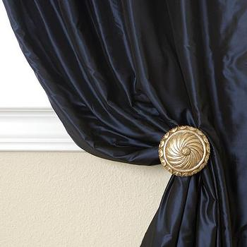 Window Treatments - Belle Nuit Silk Drapes & Curtains - Half Price Drapes - navy blue, silk, curtains