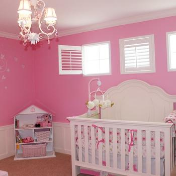 nurseries - hot pink, polka dots, pink nursery, pink nursery design, pink nursery ideas, nursery wainscoting, wainscoting in nursery,  Lara Mark