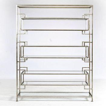 Storage Furniture - Lamar 7 Shelf Etagere -Silver Leaf with Glass Shelves Luxury Modern Furniture - lamar, silver leaf, etagere