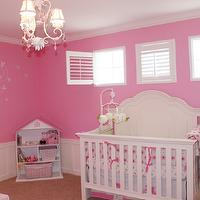 nurseries: nursery, pink, hot pink, diy, ruffles, polka dots, mirrors, ribbons, crib, dresser, ottoman, chair, tree, decal, chandelier, dollhouse, shutters, baby, baby girl,
