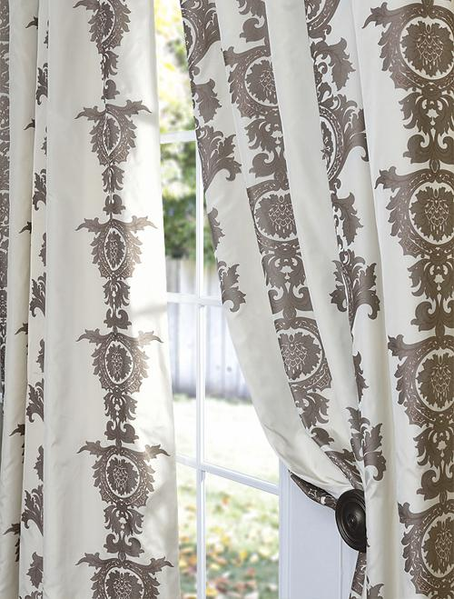 Window Treatments - Ralston Cream Patterned Faux Silk Curtains & Drapes | Custom Window Treatment - Half Price Drapes - faux silk, curtains, drapes