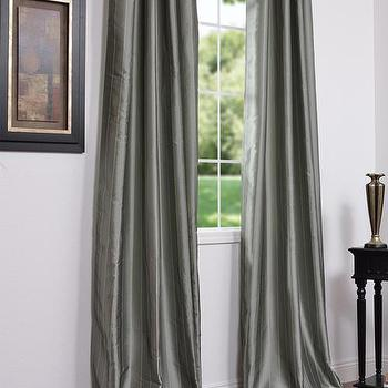 Window Treatments - Strauss Seafoam Stripe Faux Silk Curtains & Panels - faux silk, curtains, drapes