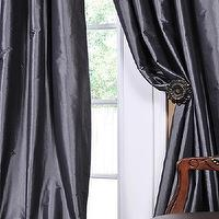 Window Treatments - Graphite Faux Solid Taffeta Silk Drapes & Curtain Panels | Modern Window Treatments - Half Price Drapes - gunmetal, gray, faux silk, panels, curtains, drapes