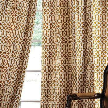 Window Treatments - Nairobi Desert Printed Cotton Window Curtains & Drapes - Half Price Drapes - imperial trellis, drapes
