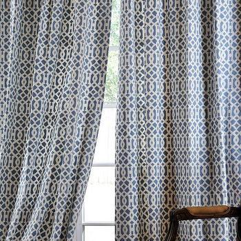 Window Treatments - Nairobi Denim Printed Cotton Curtains & Drapes - Half Price Drapes - blue, imperial trellis, drapes