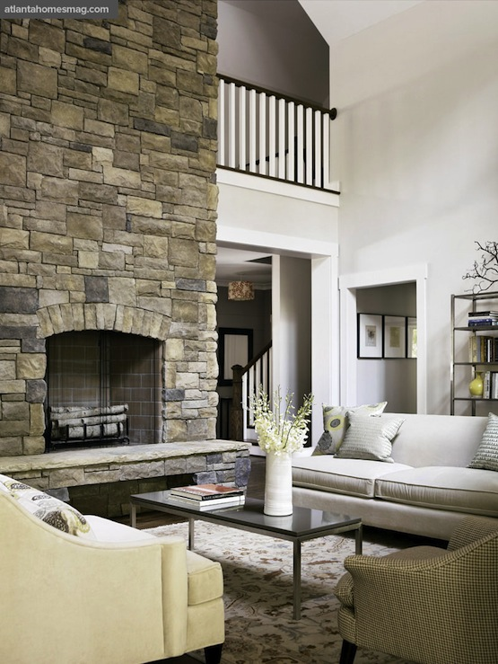 Two story fireplace country living room atlanta for Living room atlanta