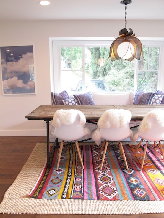 Layered rugs eclectic dining room amber interiors - Rug dining room and interior ...