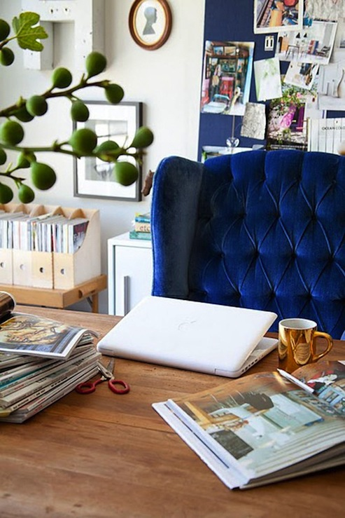 Emily Henderson - dens/libraries/offices - bulletin board, blue chair, blue velvet chair, blue wingback chair, blue tufted chair, blue velvet wingback chair, tufted wingback chair, blue tufted wingback chair, blue velvet tufted chair,