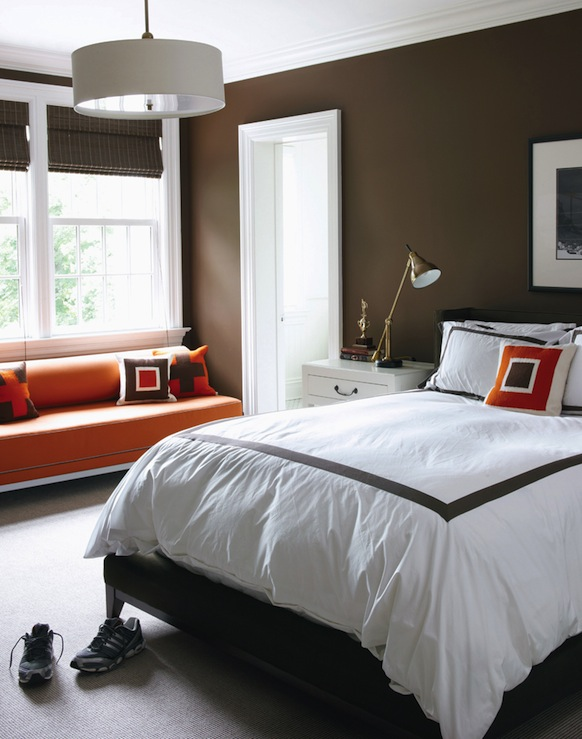 Brown and orange bedroom contemporary boy 39 s room for Brown and orange bedroom ideas