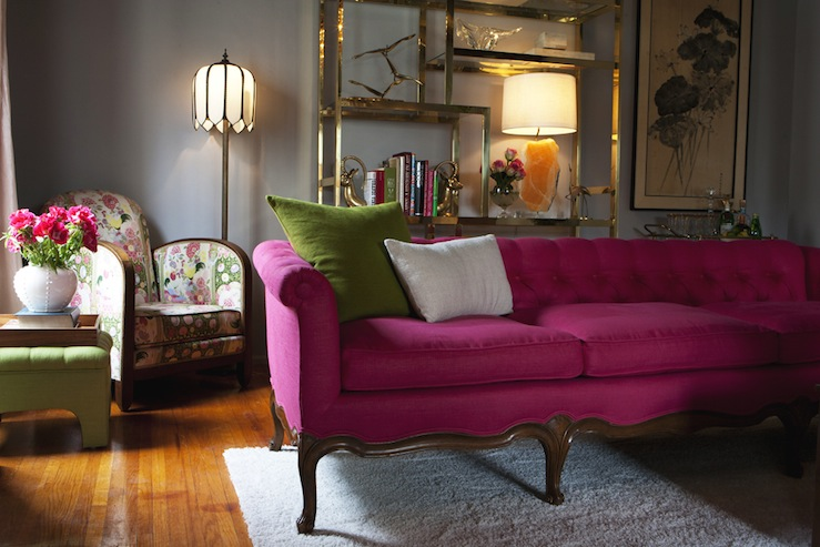 Emily Henderson - living rooms - hot pink sofa, pink tufted sofa, hot pink tufted sofa, vintage pink sofa, brass etagere, antique brass etagere,