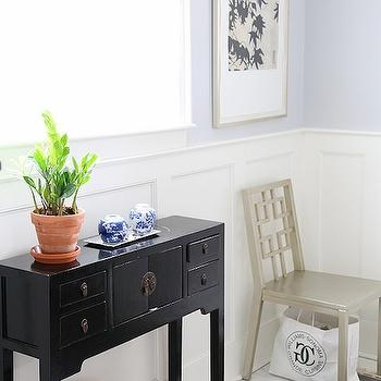 8 Foot Six - entrances/foyers - console table, asian console, asian table, asian console table, asian foyer table, foyer table, asian cabinet board and batten, foyer board and batten, board and batten in foyer, lilac gray walls, lilac gray paint colors,