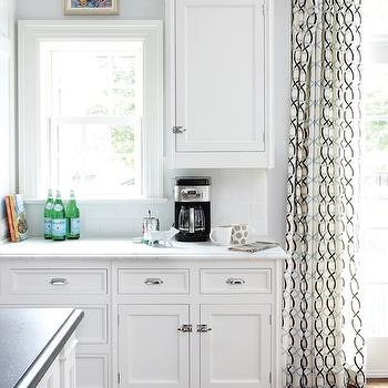 Muse Interiors - kitchens - geometric curtains, geometric patterned curtains, geometric drapes, geometric patterned drapes,  Sunny white kitchen