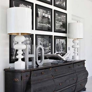 entrances/foyers - distressed credenza, glossy white lamps, photo walls, photo wall collage, photo wall ideas, photo wall gallery,  via Pinterest