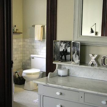KItchen Lab - bathrooms - gray chest, gray dresser, gray vanity, marble top chest,  Gorgeous ensuite bathroom with marble tiles floor, marble