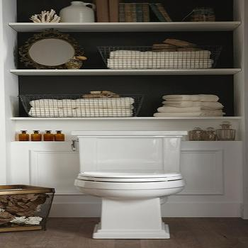 bathrooms - shelves over toiler, over the toilet shelves, shelving over toilet, shelves above toilet, built in shelves,  via Pinterest  Great