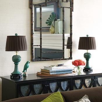 Muse Interiors - living rooms - faux bamboo mirror, bamboo mirror, pagoda mirror, brown pagoda mirror, brown bamboo mirror, elisabeth cabinet, oly studio cabinets, jade green lamps,