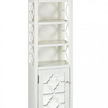 Bath - Reflections Linen Cabinet - Linen Cabinets - Bath Furniture - Bath | HomeDecorators.com - quatrefoil, white, bathroom, cabinet